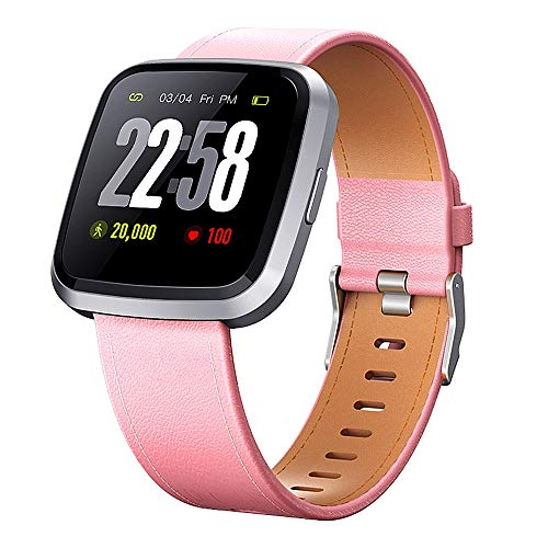 H4 Fitness Health 2in1 Smart Watch for Men Women Smartwatch with All-Day Heart Rate/Blood Pressure/Sleep Monitor IP67 Waterproof Sports Activitity Tracker Bluetooth Watch (Pink)