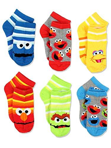 Sesame Street Boys Multi pack Socks (2-4 / Shoe: 4-7, Stripes Quarter 6 pk)