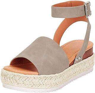 64e69278314b0 FIRENGOLI Sara Love Womens Wedges Sandal Open Toe Ankle Strap Trendy  Espadrille Platform Sandals Flats