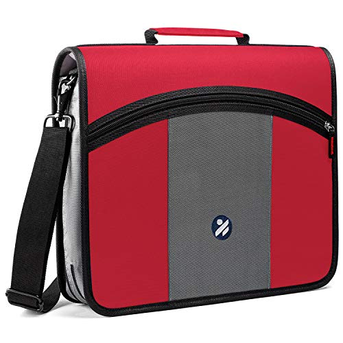 3-Inch Zipper Binder, 3 Round Rings Binder with Expanding File and Shoulder Strap, Red