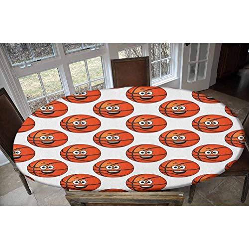 Mantel ajustable de poliéster elástico con diseño de bolas de color naranja sonriente, ideal para mesas de hasta 122 cm de ancho x 172 cm de largo