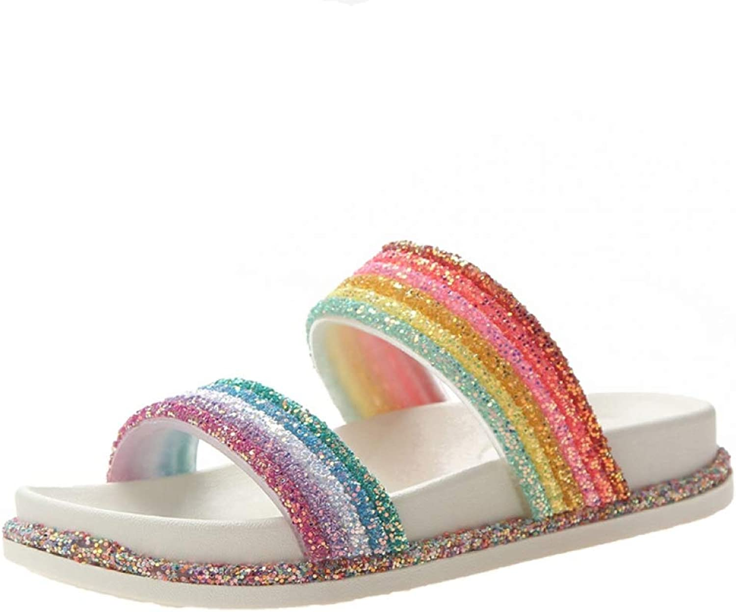 Women Rainbow Slippers colord Glitters Slides Beach shoes Women Casual Summer shoes