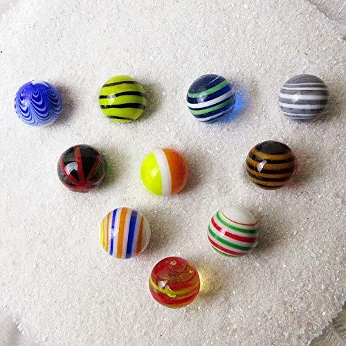 Bolas de mármol de cristal de 16 mm, diseño de pinball transparente, decoración del hogar para acuario, jarrón de peces, juguetes para niños, 10 unidades (color: azul, tamaño: 16 mm)