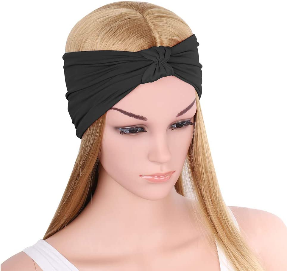 MoKo Headband for Women, Versatile Solid Headband Hair Wrap Multi-Style Casual Sports Headwear, Stretchy Breathable Moisture Wicking Microfiber Head Wrap for Workout, Running, Yoga & More