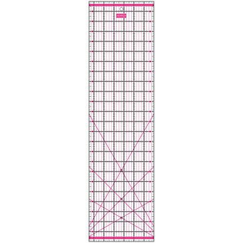 SEMPLIX Patchwork-Lineal Quilt-Lineal, transparent, mit Inch-Skala und Winkelfunktionen, ideal für Patchwork und zum Basteln, 24 x 6,5 inch (pink)