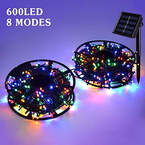 JMEXSUSS Solar String Light 600LED 206.7ft 8 Modes Solar Christmas Lights Waterproof Outdoor Fairy String Lights for Gardens, Homes, Wedding, Party, Christmas Tree Outdoors (600LED, Multicolor)