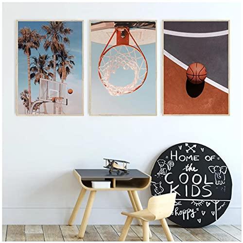 Arte de pared, carteles de baloncesto e impresiones, serie deportiva para adolescentes, aro de baloncesto, fotografía, lienzo, pintura, decoración, regalo para niño, sin marco