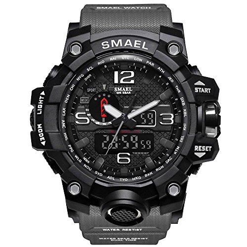 SMAEL Men's Sports Analog Digital Quartz Military Watch Waterproof Multifunctional Large Dial Wrist...
