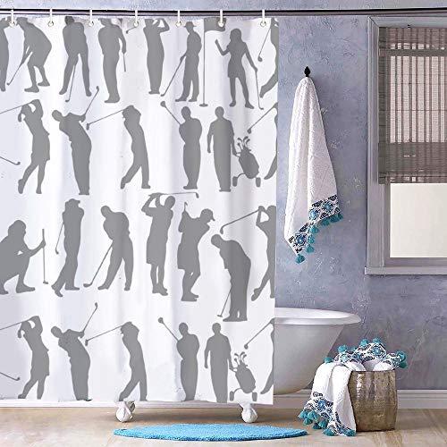 Cortina de ducha con diseño de columpio de golf que se muestra en catorce etapas, forro de baño sin olor, cortina de tela para baño, ducha, bañeras, forro impermeable de 182 x 182 cm