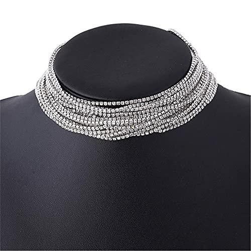 Winwinfly Layered Statement Halskette - Mehrkettiger Wasserfall-Strass-Strumpf Langes Multistrand-Ketten-Lätzchen für Frauen - Funkelnder CZ-Kristall-Strassschmuck