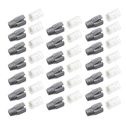 WJUAN 20 Piezas de Conectores RJ45, Kit Conectores Ethernet con 20 Piezas Cubierta Protectora Gris, Conectores RJ45 Cat5e para Enrutadores, Conmutadores, Impresoras, Decodificadores