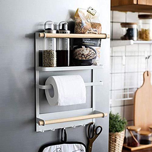 WJJH Keukenrek kruidenrek plank wandmontage magnetische koelkast zijwandhanger, 24,5x6x34cm