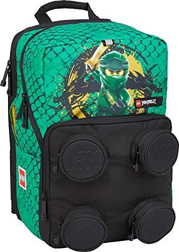 Lego Bags Schulranzen Petersen, Ranzen nur 1,07 Kg, Schultasche mit Lego NINJAGO Green Motiv, Büchertasche ca. 38 x 25 x 27 cm, 23 Liter, Notebook Schulrucksack und Brick 2x2 Vortasche, Grün