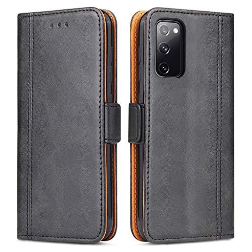 Bozon Handyhülle für Galaxy S20 FE, Lederhülle mit Kartenfächer, Handytasche mit Standfunktion, Klapphülle Tasche für Samsung Galaxy S20 FE(Fan Edition)/ S20 Lite (Schwarz)