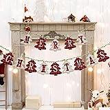 LessMo Weihnachtsbanner mit Kiefernmuster, Merry Christmas Hängende Flagge, Weihnachten Briefe Banner für Tür-Wand-Fenster Home Innen- & Außen Neues Jahr Party Dekoration Kamindekoration