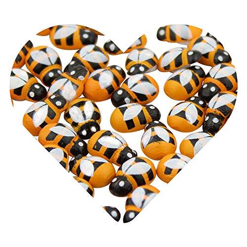 DEKOWEAR® Bienen selbstklebend Klebepunkt Silvester Party Biene Partydeko dekorieren Holz Streudeko Glücksbiene Deko Scrapbooking Sticker Glücksbringer Aufkleber Gelb 100 Stück