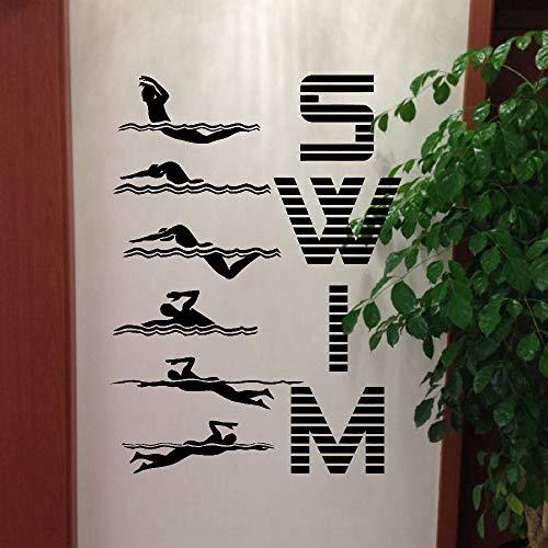 Deportes acuáticos natación patrón de vinilo pegatinas de pared divertidas calcomanías de arte creativo piscina gimnasio decoración del hogar pegatinas de pared A7 80x56cm