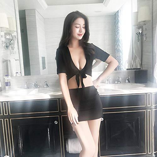 JSTH Kostüme für Erwachsene Bekleidung & Schuhe für Modepuppen Sexy Cosplay Sekretärin Lehrerin Arbeitsset Sexy Dessous Sexy Hüftuniform Schwarz Einheitsgröße