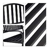 Relaxdays Gartenbank mit Klapptisch, 3-Sitzer, integrierte Tischablage, wetterfest, HxBxT 90 x 150 x 57,5 cm, schwarz - 3