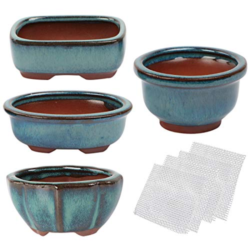 kilofly Happy Bonsai Mini Glazed Pots Value Set of 4, with 4 Soft Mesh Drainage Screens