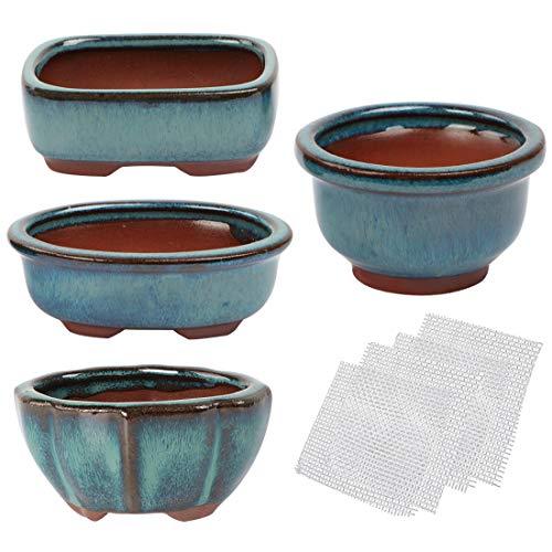 Kilofly Happy Bonsai - Set di 4 mini vasi smaltati con 4 griglie di drenaggio in rete morbida