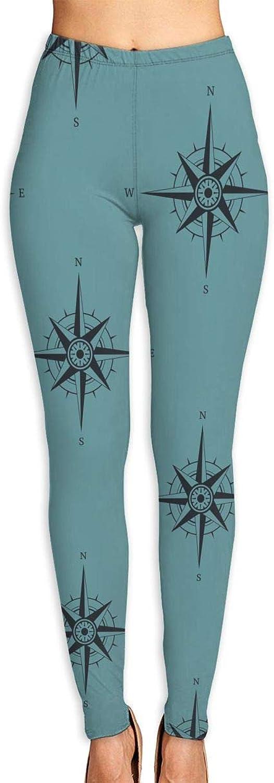 PiaoLiang Women Power Stretch Yoga Pants Running Tights  Navigation Compass Legging