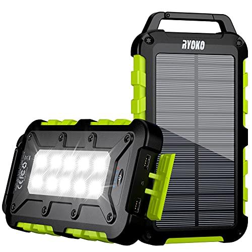 Solar Powerbank 20000mAh, Solar Ladegerät mit 2 Ausgängen USB C Schnellladung, wasserdichte Power Bank Externer Akku mit 10 LED-Taschenlampen für iPhone, Samsung Tablet und Camping im Freien