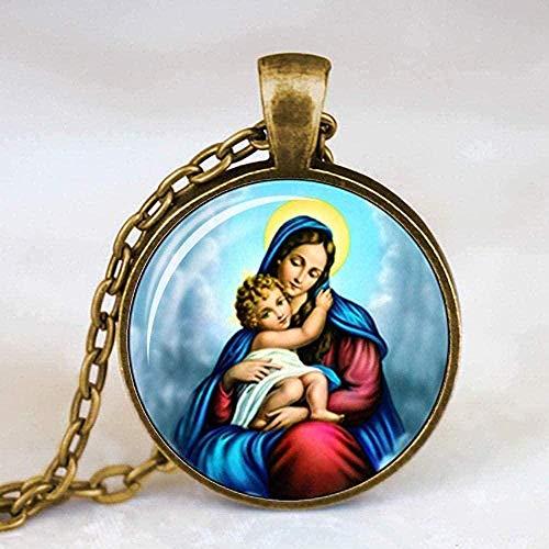 LKLFC Collar Virgen María Madre del bebé Collar Jesucristo Colgante Cristiano Católico Religioso Cristal Joyas Regalo para Hombres Mujeres Collar Colgante Regalo para Mujeres Hombres Niñas Niños