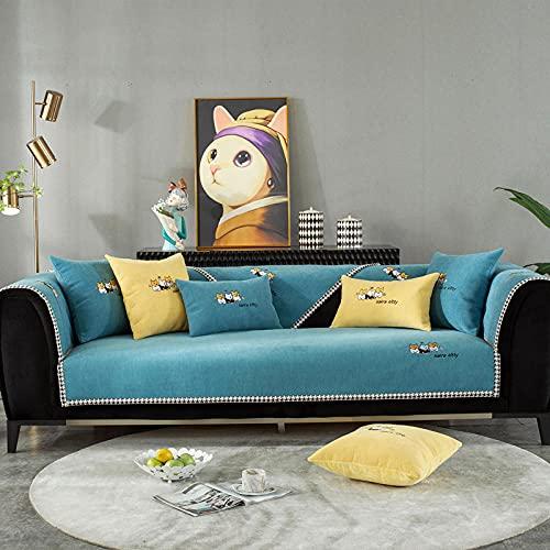 Fsogasilttlv Funda de sofá antisuciedad para sofá de 3 Cojines, cojín de sofá de Dibujos Animados Bordado Snowney, cojín Universal Four Seasons, Funda de sofá Completa Azul 43 * 95 Inch