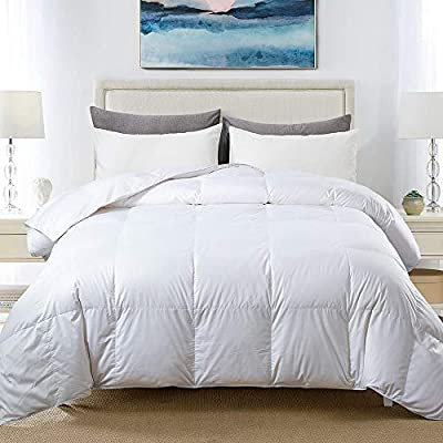 Cosybay 100% Cotton Quilted Down Comforter White Goose Duck Down and Feather Filling – All Season Duvet Insert or Stand-Alone – Queen Size (90×90 Inch) from Cosyaby