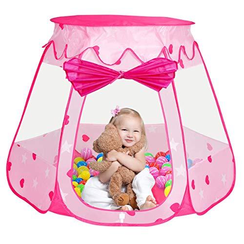 Iiomise 子供 キッズテント ボールハウス おもちゃ 知育玩具 折りたたみ式  アウトドアも室内 (ピンク...