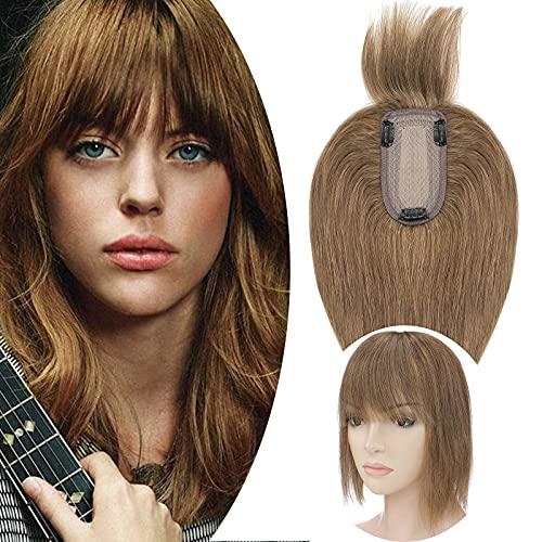 SEGO Lace Hair Topper Donna Clip con Frangia Extension Capelli Veri 100% Remy Human Hair Protesi Silk Top 7cm x 13cm Toupet Toupee Lunghi 40cm 48g #6 Castano