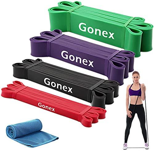 Gonex Elastiche Fitness, 4 Set 100% Naturale Fasce Allenamento di Resistenza, Bande Elastiche...