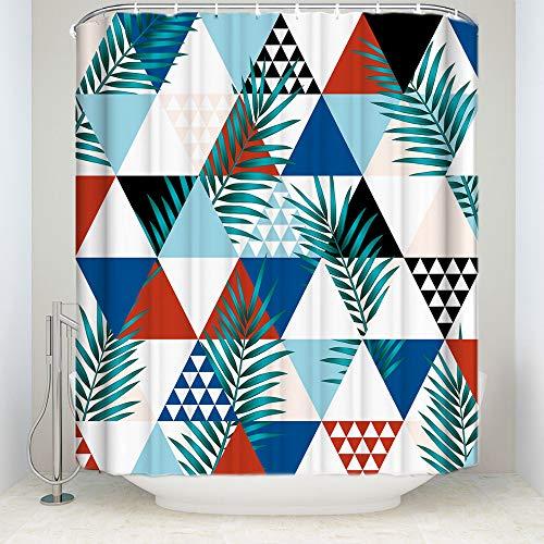 QAQ Starry Sky douchegordijn, nieuwe aankomst, waterdichte tropische planten, geometrisch patroon, polyester, badgordijnen voor hoofddecoraties
