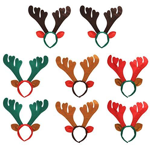 Diadema de Reno 8 piezas Banda de Pelo de aro de asta de reno de Navidad, Sombreros Surtidos para Fiesta de Navidad Disfraz Decoración de Disfraces Fiesta Infantil, 4 colores