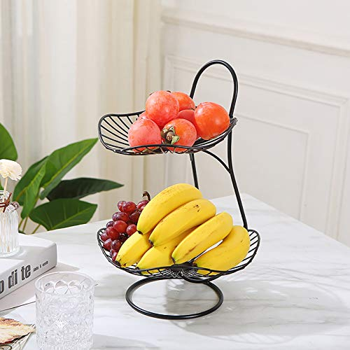 KWOPA Fruit Basket Bowl,Stackable -Tier Countertop Fruit Basket Holder And Decorative Bowl Stand For Fruit,Vegetables,Snacks,Household Items-Black. 37x25cm(15x10inch)