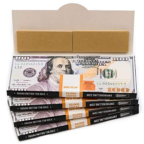 EMPIRE ROLLING - Four Pack Wallets $100 Bill Rolling Paper (40 Papers) - King Size BENNY | Made from Pure All Natural Ingredients | Premium Quality Paper, Organic, 100% Vegan, Non-GMO, Unbleached