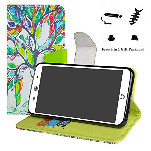 LFDZ WileyFox Swift 2 Hülle, [Standfunktion] [Kartenfächern] PU-Leder Schutzhülle Brieftasche Handyhülle für WileyFox Swift 2 / Swift 2 Plus Smartphone (mit 4in1 Geschenk Verpackt),Love Tree