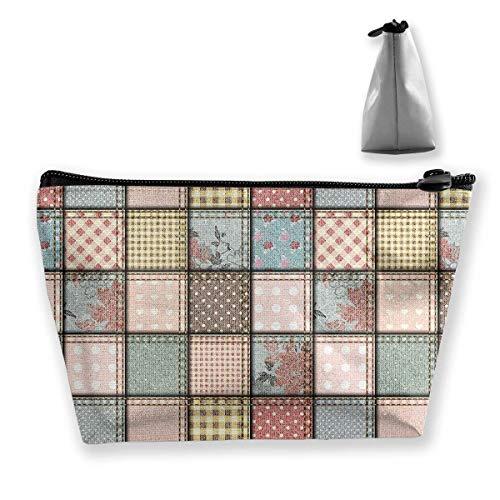 Patchwork - Bolsa de tela vaquera para cosméticos o maquillaje, bolsa de viaje, bolsa de almacenamiento para mujeres, accesorios de tocador, belleza, cuidado de la piel, accesorio de viaje
