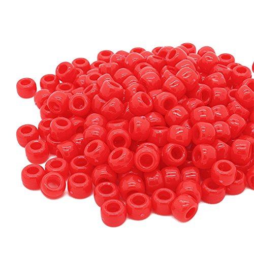 Beads Unlimited blickdichtem Kunststoff Barrel Pony, schwarz, 6X 8mm P, Plastik, rot, 6 x 8 mm