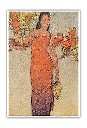 Pacifica Island Art Healani - Hawái - El Hotel Royal Hawaiian - Grabado al aguatinta a Color de John Melville Kelly c.1940s - Impresión de Arte 33x48cm
