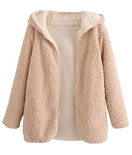Arjungo Women's Reversible Shaggy Cardigan Oversized Hooded Fleece Coat Jacket with Pockets