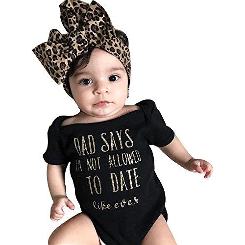 Lazzboy Baby Mädchen Brief Strampler Overall Stirnband Outfits Kleidung Set Kleinkind Taufkleid Lange ärmel Body Tütü Rock Mit Glitzer Bowknot Geburtstag Geschenk(Schwarz70)