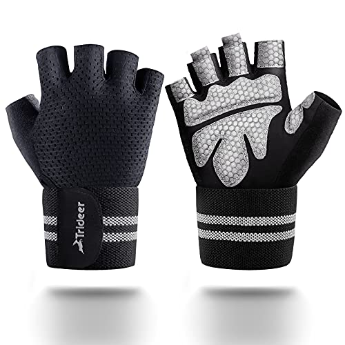 """Trideer Ventilated Workout Gloves for Men Weight Lifting, Gym Exercise Gloves, Weight Lifting Gloves with 25"""" High Elastic Wrist Strap, Suit for Dumbbell, Fitness, Cross Training"""