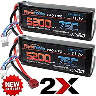 PowerHobby 3S 11.1V 5200mAh 75C Lipo Battery 2 Pack w Deans Plug 3-Cell (2) Fits : Assocated Hpi Savage Vorza E10 Rs4 Blitz Arrma Kraton Typhon Duratrax …