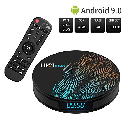 Android 9.0 TV Box, HK1 MAX 4GB/64GB RK3318 Quad-Core 64bit 2.4Ghz/5.0 Ghz WiFi BT 4.0 HDMI 4K VP9 3D Smart TV Box