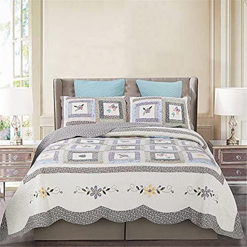 Toda la temporada Ropa de cama acolchada, 100% algodón Set de comodidad Acogedor Edredón - 3 piezas - Reversible Colcha acolchada Ligero Edredón de edredones,King 118x102inch