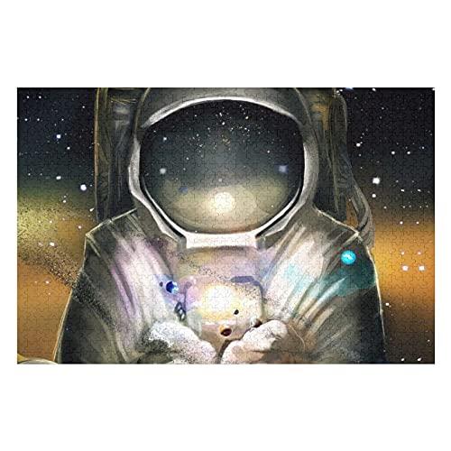 Houten puzzel 1000 PCS voor volwassenen en kinderen, grote astronauten in de ruimte moeilijke uitdaging intellectuele…