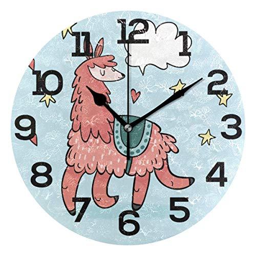 Reloj de Pared Cute Alpaca Happy Running Star Heart Azul Reloj de acrílico Redondo Negro Números Grandes Reloj silencioso sin tictac Pintura Decorativa Reloj con Pilas para e School Hotel Lib