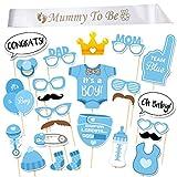 InnoBase Babydusche Baby Junge Deko partydekoration Set Mummy to Be Satin Schärpe Babyparty Baby Shower Masken Foto Booth Props Fotorequisiten Neugeborene (Boy)